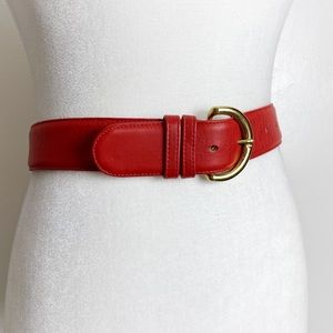 Coach Ruby Red Leather & Brass Classic Belt